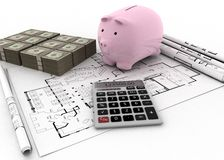 House plan and budget Royalty Free Stock Photography