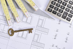 House plan. Calculate, key and another drawing Stock Image