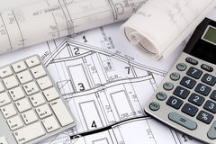 House plan with calculator Stock Photography