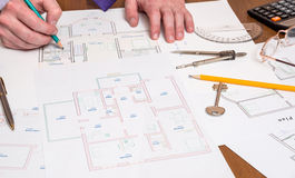 House plan with color samples Stock Photo