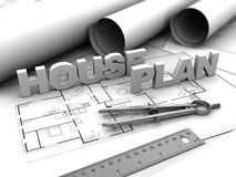 House plan. 3d illustration of house blueprints concept Stock Images