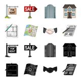 House plan, documents for signing, handshake, terrain plan. Realtor set collection icons in black,cartoon style vector Stock Photo