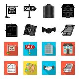 House plan, documents for signing, handshake, terrain plan. Realtor set collection icons in black,flet style vector. Symbol stock illustration Royalty Free Stock Image