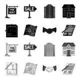 House plan, documents for signing, handshake, terrain plan. Realtor set collection icons in black,monochrome style Stock Photos