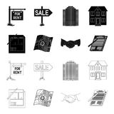 House plan, documents for signing, handshake, terrain plan. Realtor set collection icons in black,outline style vector Stock Images