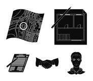 House plan, documents for signing, handshake, terrain plan. Realtor set collection icons in black style vector symbol. Stock illustration Royalty Free Stock Photography