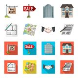 House plan, documents for signing, handshake, terrain plan. Realtor set collection icons in cartoon,flat style vector Stock Photo