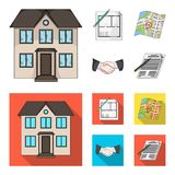 House plan, documents for signing, handshake, terrain plan. Realtor set collection icons in cartoon,flat style vector. Symbol stock illustration Stock Image