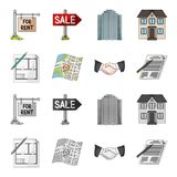House plan, documents for signing, handshake, terrain plan. Realtor set collection icons in cartoon,monochrome style Royalty Free Stock Photo