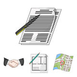 Realtor set collection icons in cartoon style vector symbol. House plan, documents for signing, handshake, terrain plan. Realtor set collection icons in cartoon Royalty Free Stock Photos
