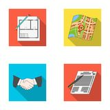 House plan, documents for signing, handshake, terrain plan. Realtor set collection icons in flat style vector symbol. Stock illustration Stock Photo