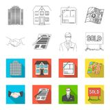 House plan, documents for signing, handshake, terrain plan. Realtor set collection icons in outline,flat style vector Royalty Free Stock Images