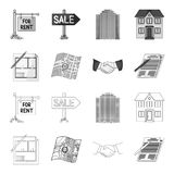 House plan, documents for signing, handshake, terrain plan. Realtor set collection icons in outline,monochrome style Royalty Free Stock Images