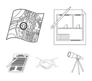 House plan, documents for signing, handshake, terrain plan. Realtor set collection icons in outline style vector symbol. Stock illustration Royalty Free Stock Images