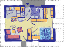 House plan doodle Royalty Free Stock Photography