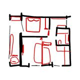 House plan, doodle for your design Royalty Free Stock Images