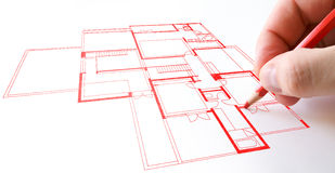 House plan drawing Royalty Free Stock Photo