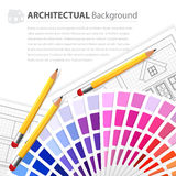 House plan drawing, color guide and pensils Stock Images
