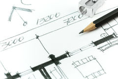 House plan drawing detail Stock Photo