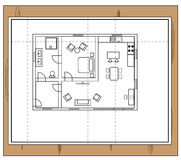 House plan. Drawing of a house with individual rooms such as a bathroom, toilet, bathroom, bedroom, kitchen and living room royalty free illustration