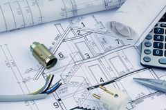 A house plan. electrical. An architect's blueprint for the construction of a new house. symbolic photo for funding and planning of a new home Royalty Free Stock Photos