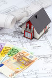House plan with euro banknotes Royalty Free Stock Images