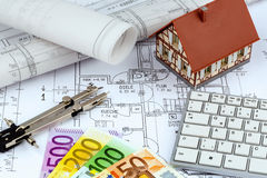 House plan with euro banknotes Royalty Free Stock Photo