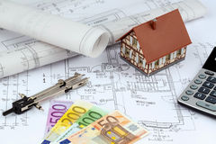 House plan with euro banknotes Stock Image