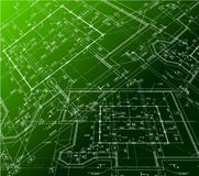 House plan on green background. Vector blueprint Stock Photo