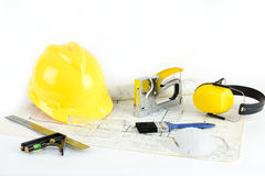 House Plan, Hardhat And Tools Stock Image