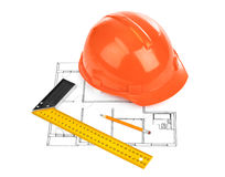 House plan and helmet Royalty Free Stock Images