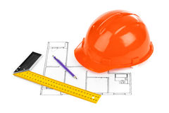 House plan and helmet Royalty Free Stock Photography