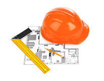 House plan and helmet Stock Images