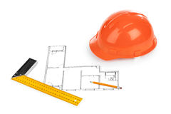 House plan and helmet Royalty Free Stock Image