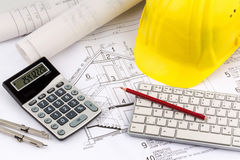 House plan with helmets of a construction worker Stock Photo
