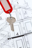 House plan with key Royalty Free Stock Photography