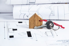 House plan and key Stock Photos