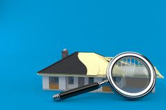 House plan with magnifying glass. Isolated on blue background Stock Photos