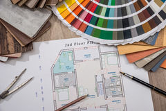 House plan with palette of colors and wooden sampler Royalty Free Stock Images