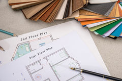 House plan with palette of colors and wooden sampler Stock Photo
