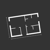House plan simple flat icon. Vector illustration on black backgr Stock Photo
