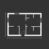 House plan simple flat icon. Vector illustration on black backgr Royalty Free Stock Images