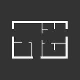 House plan simple flat icon. Vector illustration on black backgr Royalty Free Stock Photography