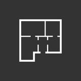 House plan simple flat icon. Vector illustration on black backgr Royalty Free Stock Photo