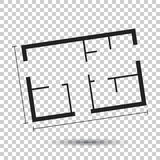 House plan simple flat icon. Vector illustration on isolated bac Royalty Free Stock Photography