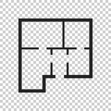 House plan simple flat icon. Vector illustration on isolated bac Stock Photo