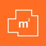 House plan simple flat icon. Vector illustration on orange backg Royalty Free Stock Photo