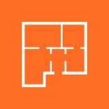 House plan simple flat icon. Vector illustration on orange backg Stock Photo