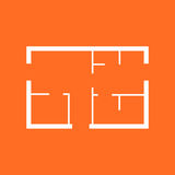House plan simple flat icon. Vector illustration on orange backg Royalty Free Stock Images