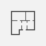 House plan simple flat icon. Vector illustration on white backgr Stock Image